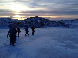 Hiking down Sólheimajökull as the sun sets around 3:30pm.